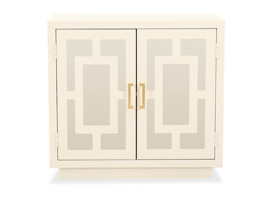 Contemporary Geometric Accent Cabinet in White