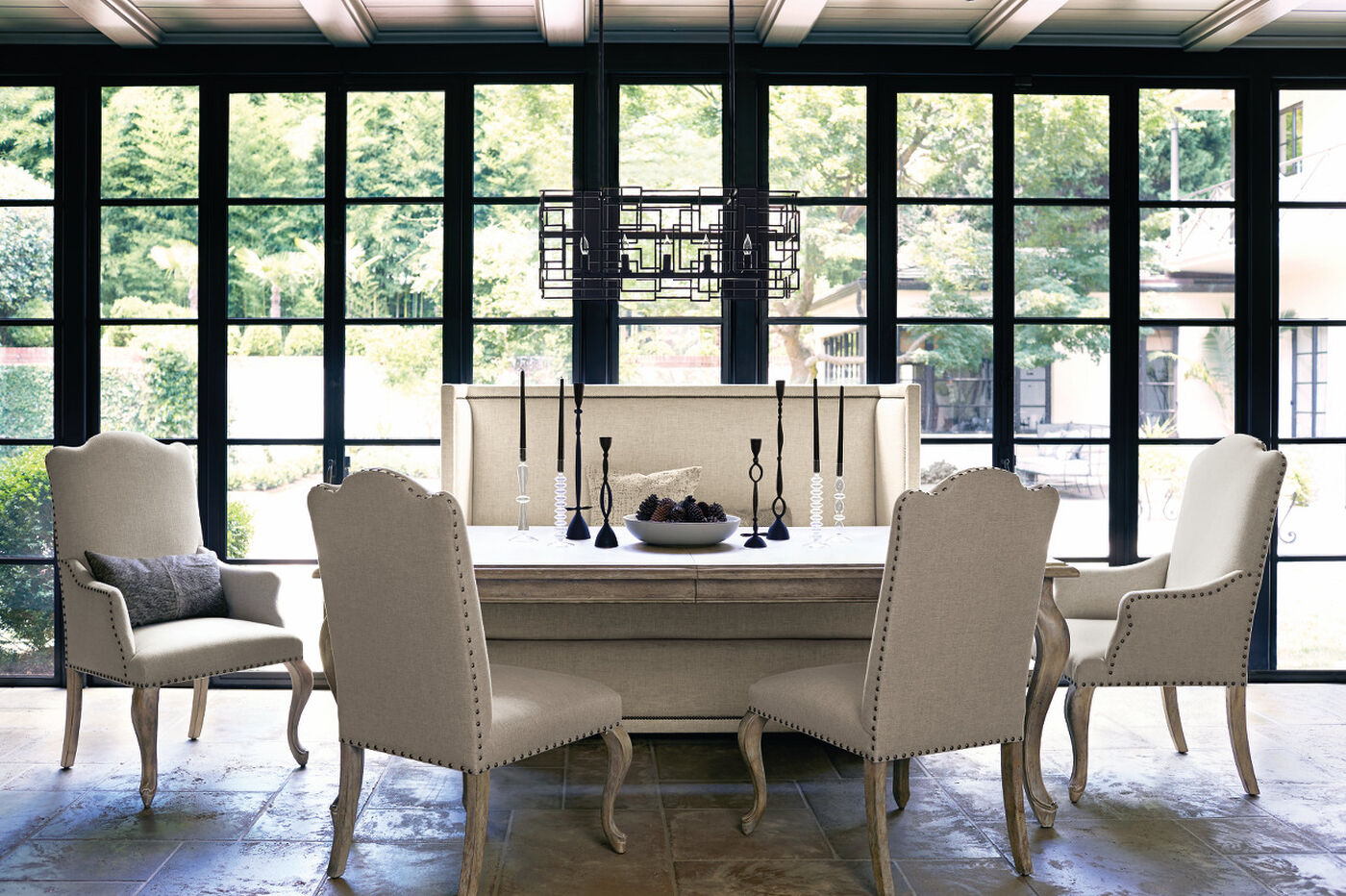 Bernhardt Campania Weathered Sand Dining Table Mathis Brothers - Bernhardt dining room furniture collections