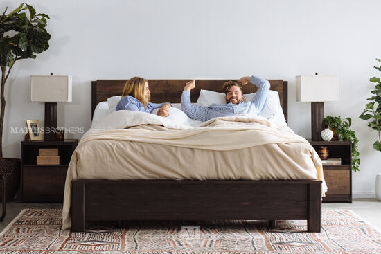 """48.5"""" Contemporary Planked Queen Panel Bed in Dark Brown"""