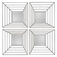"22"" Four-Piece Square Mirror Set in Antique Silver Leaf"