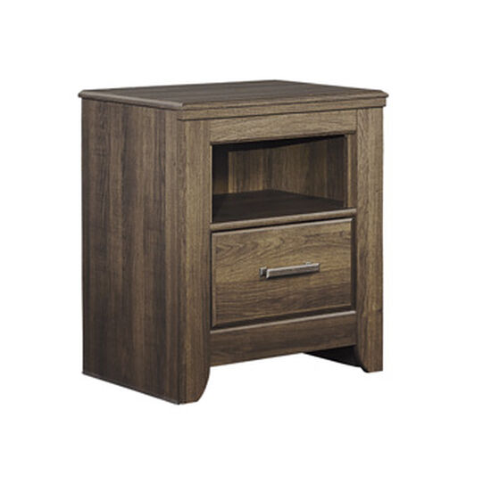Casual One-Drawer Youth Nightstand in Dark Brown