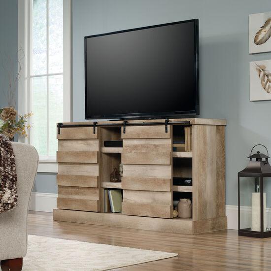 Contemporary Six Adjustable Shelf Credenza in Lintel Oak