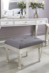 Ashley Coralayne Silver Upholstered Stool