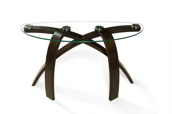 Glass Top Contemporary Sofa Table in Brown