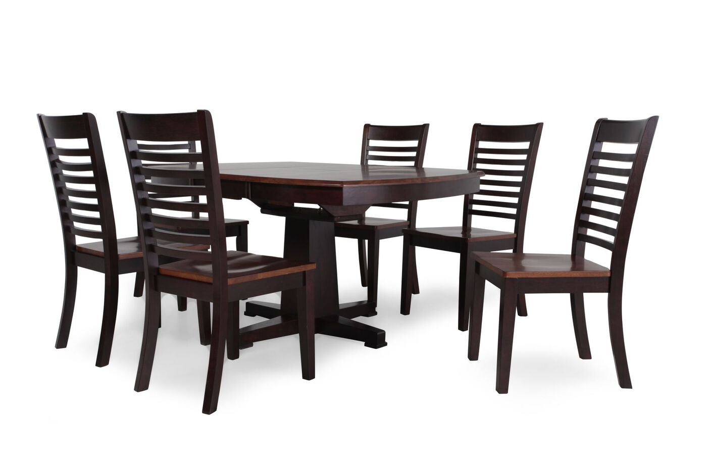 Seven piece casual dining set in espresso mathis for Casual dining furniture