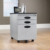 MB Home Lake Wood Silver/Black Mobile File Cabinet