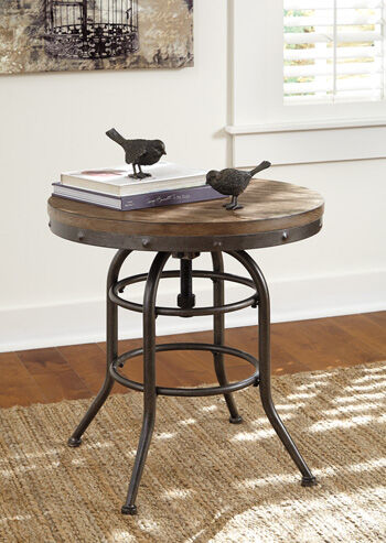 Images Casual Adjustable Height End Table In Blackened Steel ...
