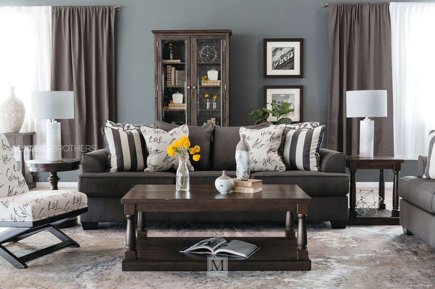 Low profile casual 96 sofa in charcoal mathis brothers for Brother v brother living room