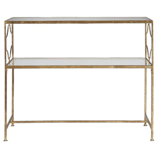 Rectangle Glass Top Console Table in Gold Leaf
