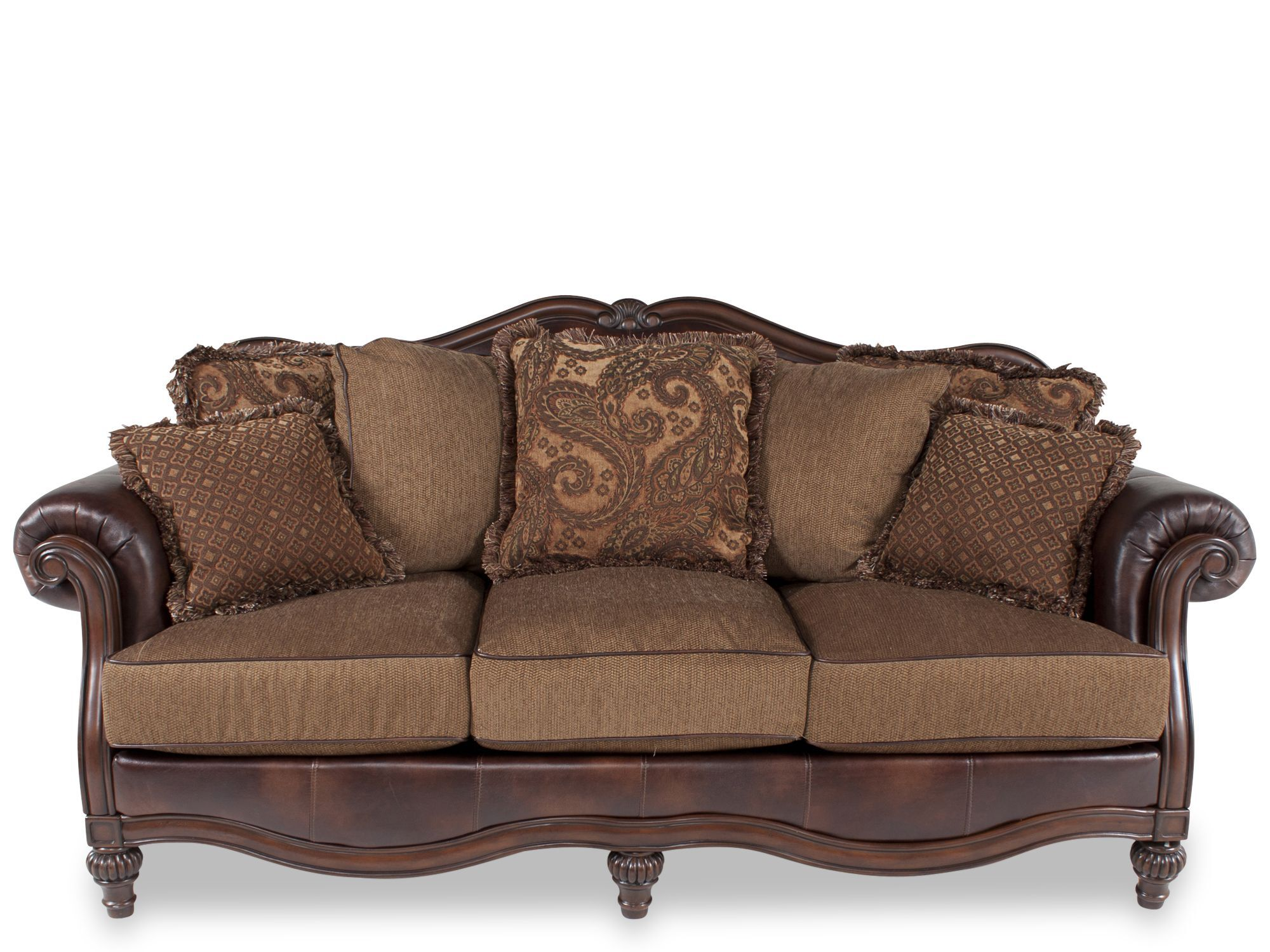 Traditional 91 Rolled Arm Sofa in Brown Mathis Brothers Furniture