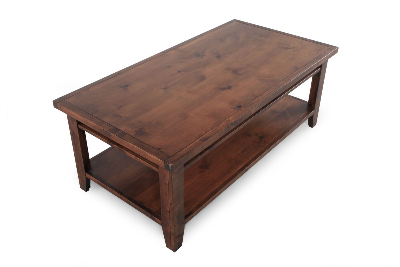 Open Shelf Cocktail Table In Butterscotch Mathis Brothers Furniture