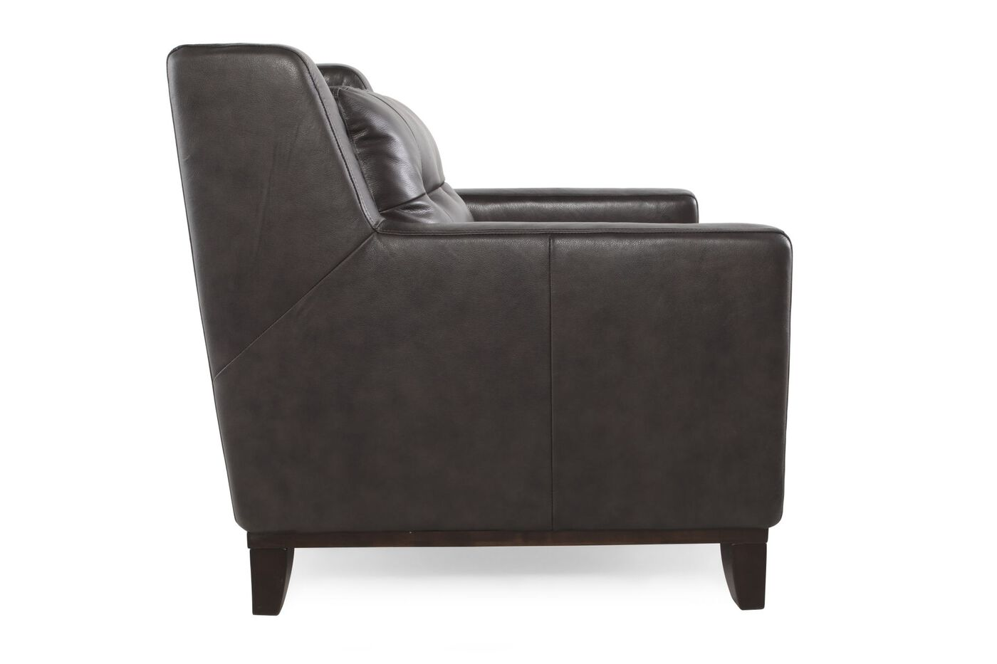 Button Tufted Leather 33 Accent Chair In Dark Gray