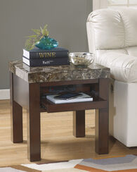 Contemporary Square End Table with Power Strip in Brown