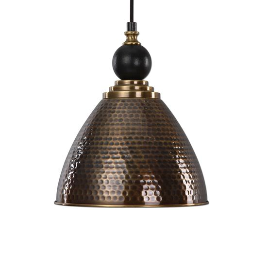 Honeycomb-Textured Single-Bulb Pendant Light in Antique Brass