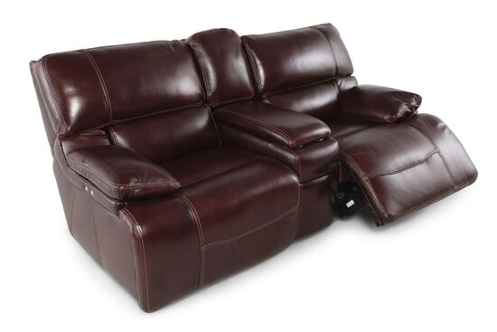 "Power Reclining Leather 79"" Loveseat with Console in Cabernet"