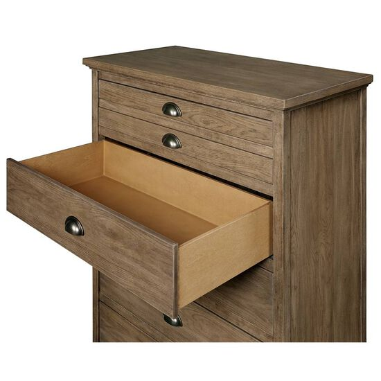 Five-Drawer Casual Youth Chest in Medium Brown