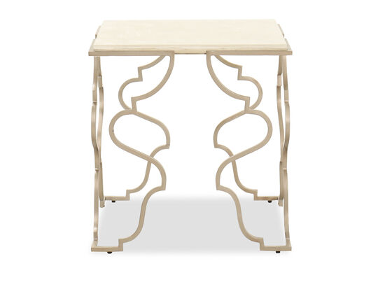 Transitional Square End Table in Matte Gold