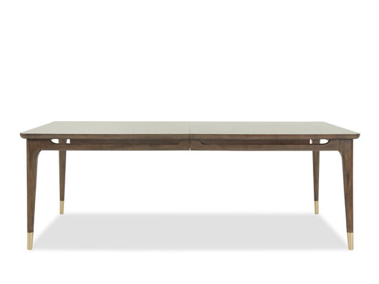 "Mid-Century Modern 42"" to 82"" Rectangular Dining Table in Dark Brown"