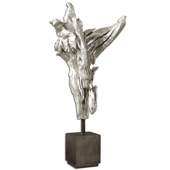 Abstract Wood Sculpture in Silver Leaf