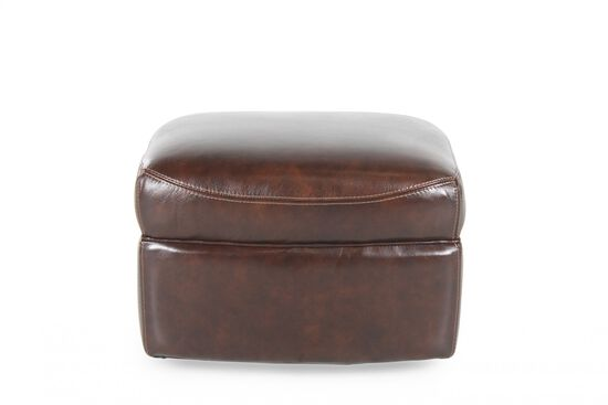 "Casual 25"" Leather Ottoman in Brown"