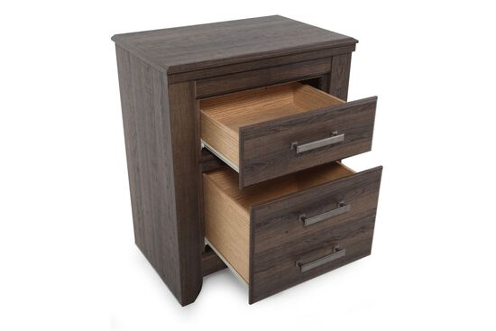 "29"" Casual Two-Drawer Nightstand in Dark Brown"