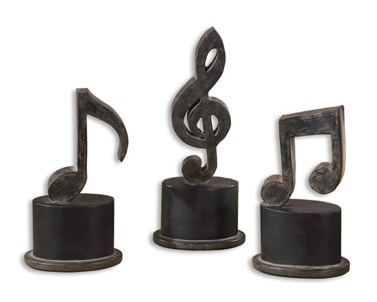 Three-Piece Music Note Figurines in Aged Black