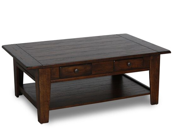 Two Drawer Solid Wood Cocktail Table In Rustic Oak Mathis Brothers Furniture