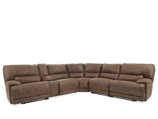 "Six-Piece Casual 140"" Power Reclining Sectional in Brown"