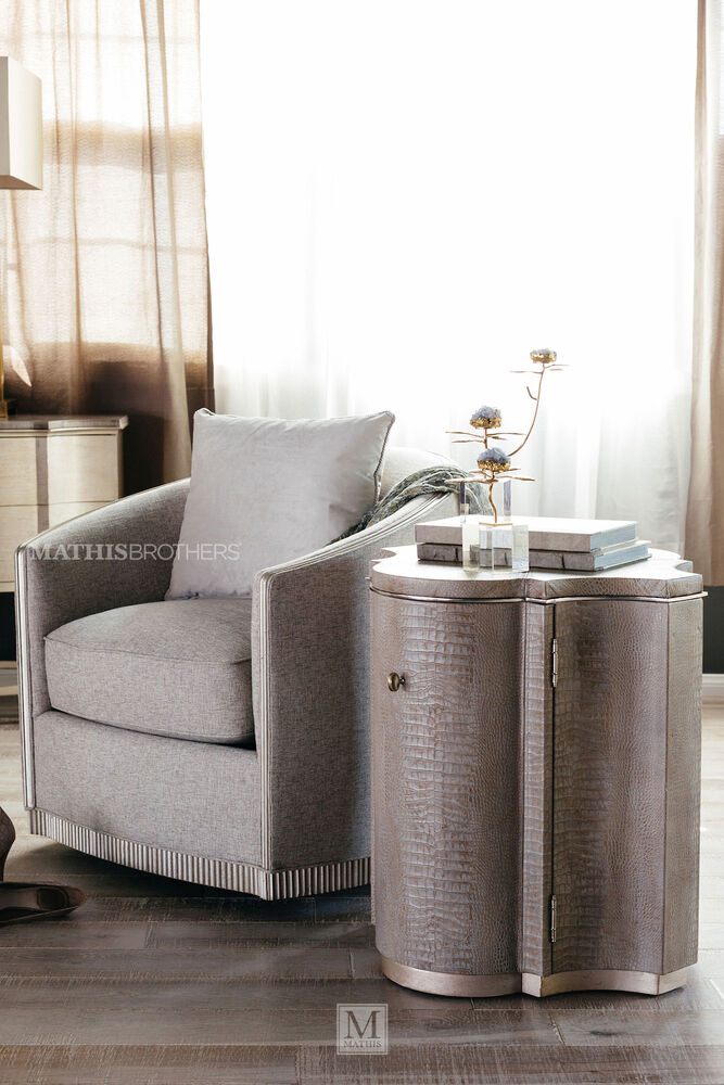 transitional crocodile patterned drum table in brown mathis brothers furniture. Black Bedroom Furniture Sets. Home Design Ideas