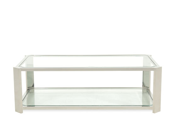 Tempered Glass Stainless Steel Cocktail Table in Silver