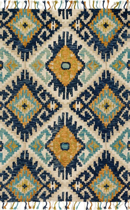 """Contemporary 1'-6""""x1'-6"""" Square Rug in Ivory/Marine"""