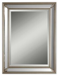 34'' Paneled Accent Mirror in Antique Silver Leaf