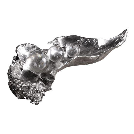 Three Peas in a Pod Sculpture in Silver