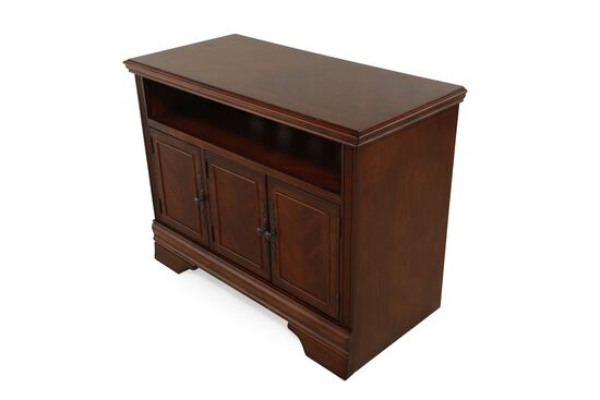 Three-Windowpane Door Traditional TV Stand in Dark Brown