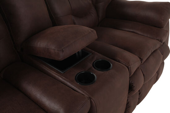 Reclining Contemporary 49 Quot Loveseat With Console In Russet
