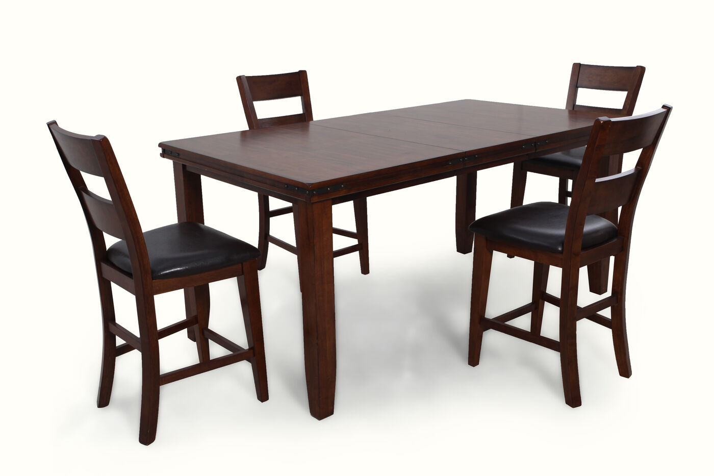 five piece solid wood rectangle extension 60 39 39 to 78 39 39 dining set in deep cherry mathis. Black Bedroom Furniture Sets. Home Design Ideas