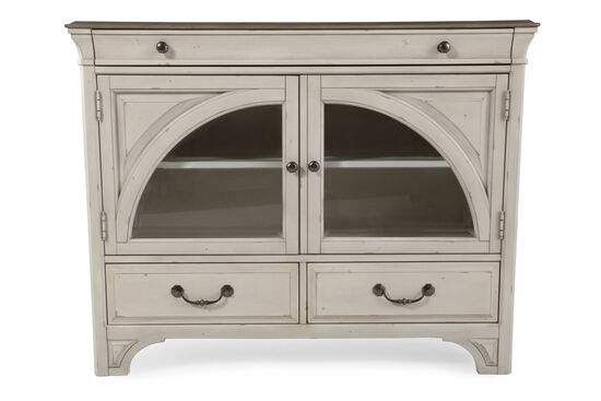 "38"" Paneled Traditional Media Chest in Vintage White"