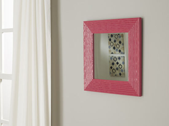 """16"""" Contemporary Wavy Line Patterned Accent Mirror in Fuchsia"""