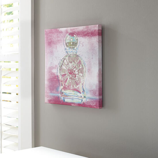 Contemporary Perfume Bottle Canvas Wall Art in Pink/Aqua/Green