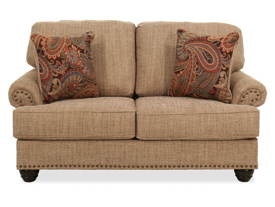 "67"" Nailhead-Trimmed Casual Loveseat in Beige"