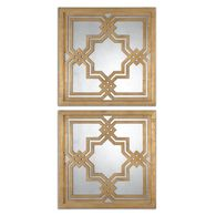 "Two-Piece 20"" Geometric Accent Mirrors in Gold Leaf"