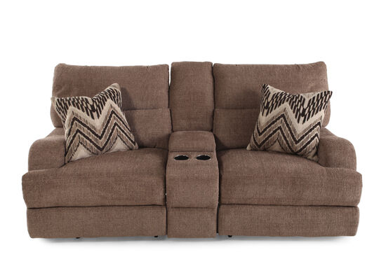 "Reclining Traditional 83"" Console Loveseat in Medium Brown"