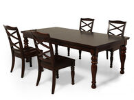 Five-Piece Traditional 70'' to 88'' Dining Set in Burnished Brown