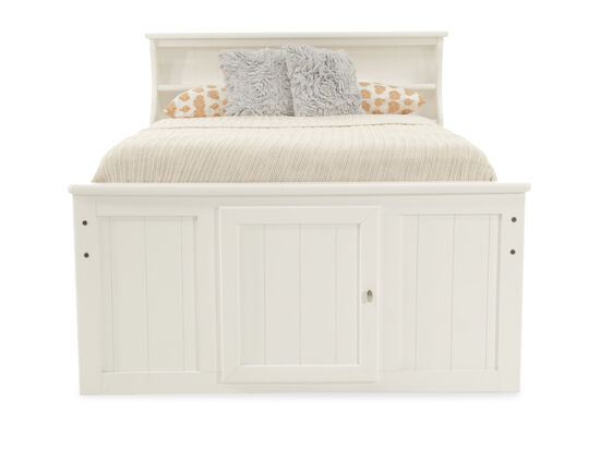 Transitional Planked Youth Bookcase Bed in White