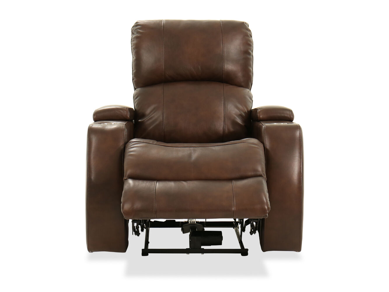 Two cup holder leather 37 39 39 power recliner in brown mathis brothers furniture for Living room with two recliners