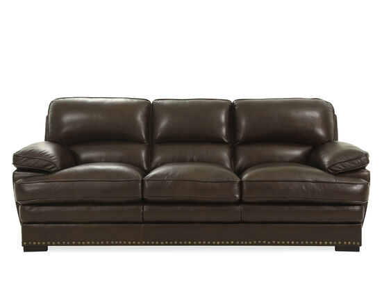 """Nailhead-Accented 93"""" Leather Sofa in Brown"""
