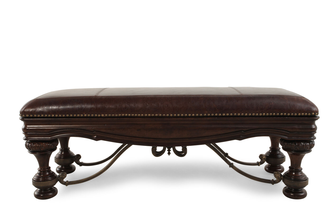 nailhead accented 54 quot leather bed bench in brown mathis