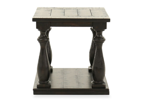 Square Wire-Brushed Contemporary End Table in Black