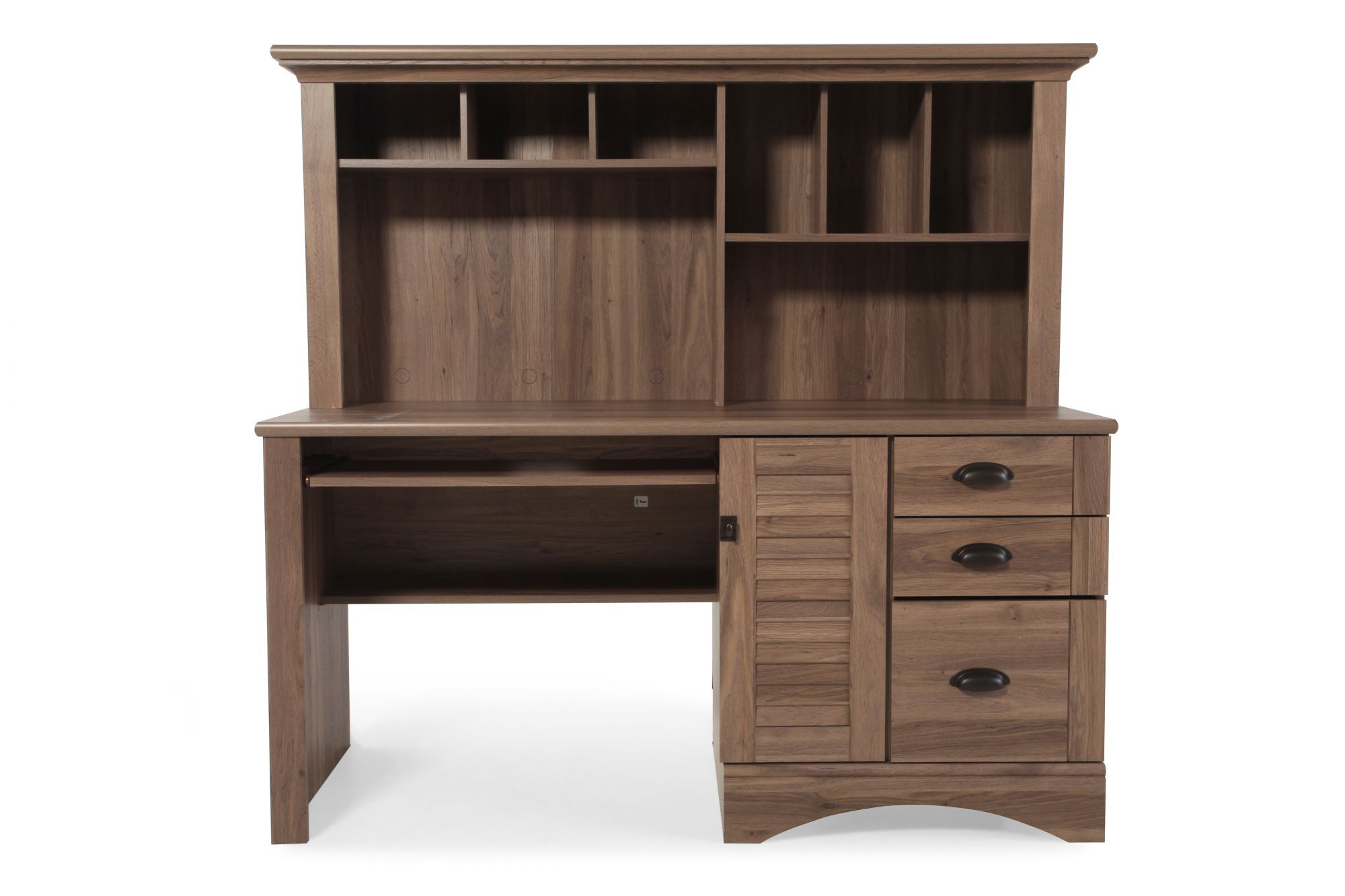 Casual Computer Desk with Hutch in Brown Mathis Brothers Furniture