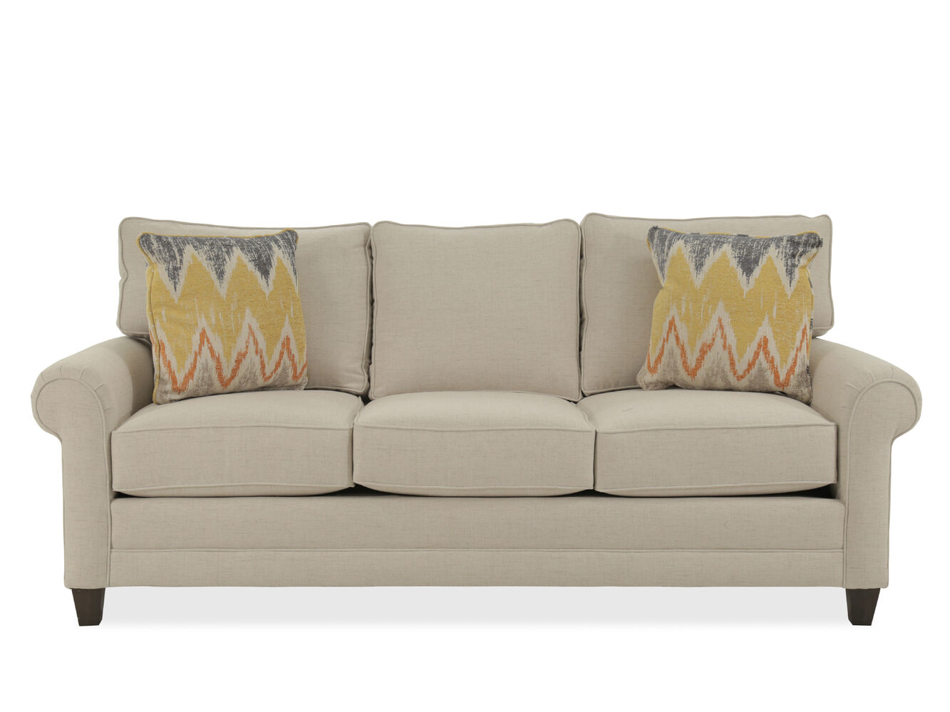 Rolled arm casual 85 sofa in beige mathis brothers for Sofa 80 tief